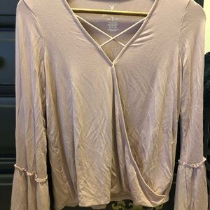 american eagle bell-bottom sleeve shirt